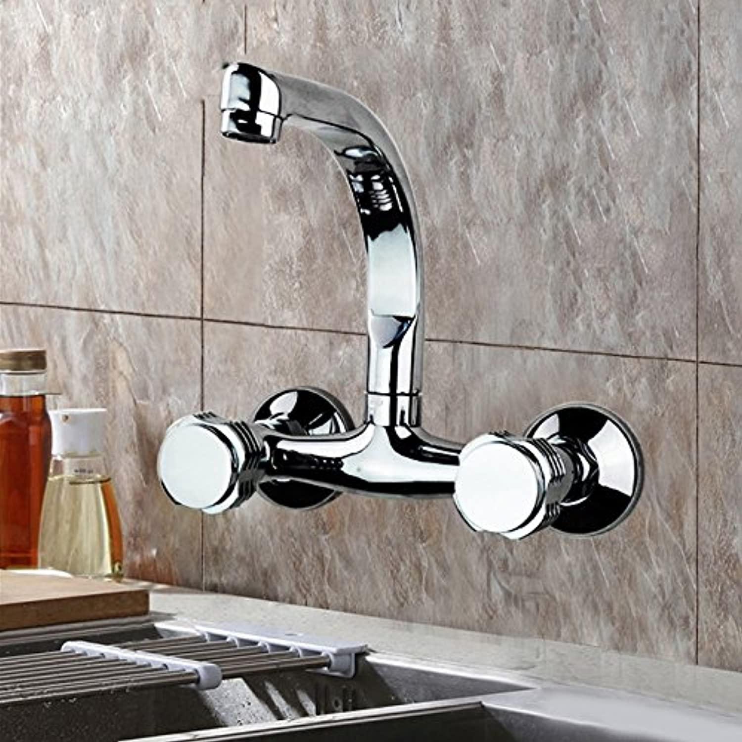 Hlluya Sink Mixer Tap Kitchen Faucet The WALL MOUNTED KITCHEN FAUCET and cold water to wash dishes, pots of water tanks water nozzle balcony double two holes full copper mixing the water valve