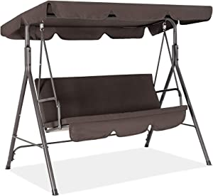 Fundouns 2-Person Patio Porch Swing Chair, Patio Swing with Canopy and Removable Cushions - Brown