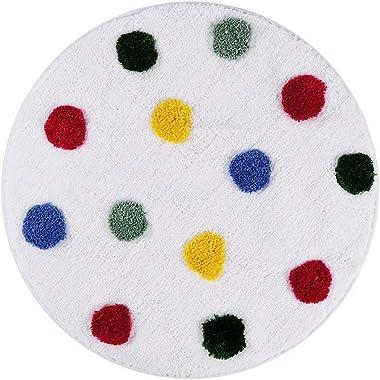 LIVEBOX Kids Play Rug, Polka Dot Area Rug 28inch Round Personalized Bath Rug Soft Plush Non-Slip Carpet Throw Rug for Living