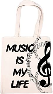 Chillake Inspirational Music Quote Natural Cotton Canvas 12 Oz Reusable Hand Made Tote Bag - Music Tote for Kids - Music I...