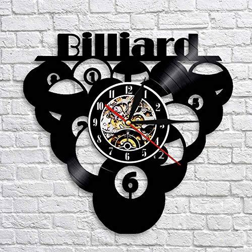Rgzqrq Billard Pool Vinyl Schallplatte Wanduhr Snooker Spieler Billard Squash Tisch Tischtennis Raumdekoration Billard Uhr Trainer Geschenk 30x30cm