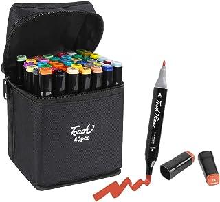 Marker Stylos, 40 Couleurs Crayons Aquarelle Art Brush Stylos Set Crayons Crayons Surligneurs Avec Dual Tip pour Manga Com...
