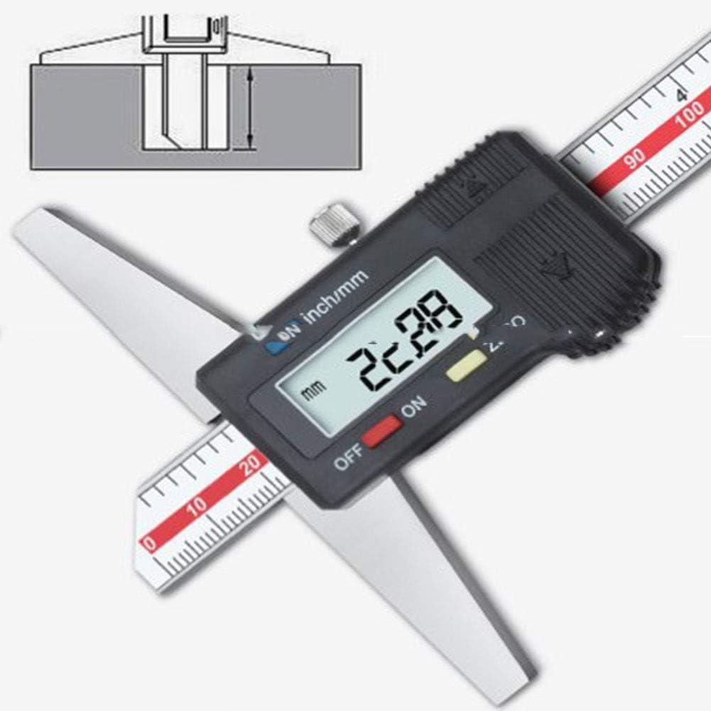 Calibro Profondit/à Nonio Digitale Acciaio Inossidabile Scatola Immagazzinaggio,Strumento Misura Calibro Micrometro//Metrico Per Misurare Profondit/à Foro Dimensione Gradino,200mm
