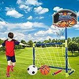 TONGJI But De Foot Et Panier Cage De Foot 2 en 1 Basketball Et Football Set pour Enfants Intérieur/Extérieur