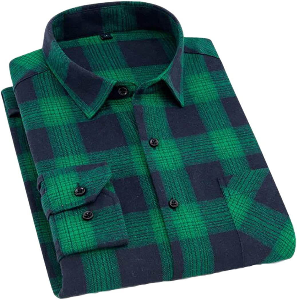 CATERTO Men's Button Down Long National Max 48% OFF uniform free shipping Flannel Sleeve Shirt Plaid