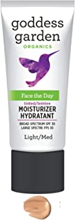 Goddess Garden - Tinted Face the Day Daily Mineral SPF 30 Firming Moisturizer - Sensitive Skin, Reef Safe, Non-Nano, Water Resistant, Vegan, Leaping Bunny Cruelty Free - Light/Medium - 1 oz Bottle