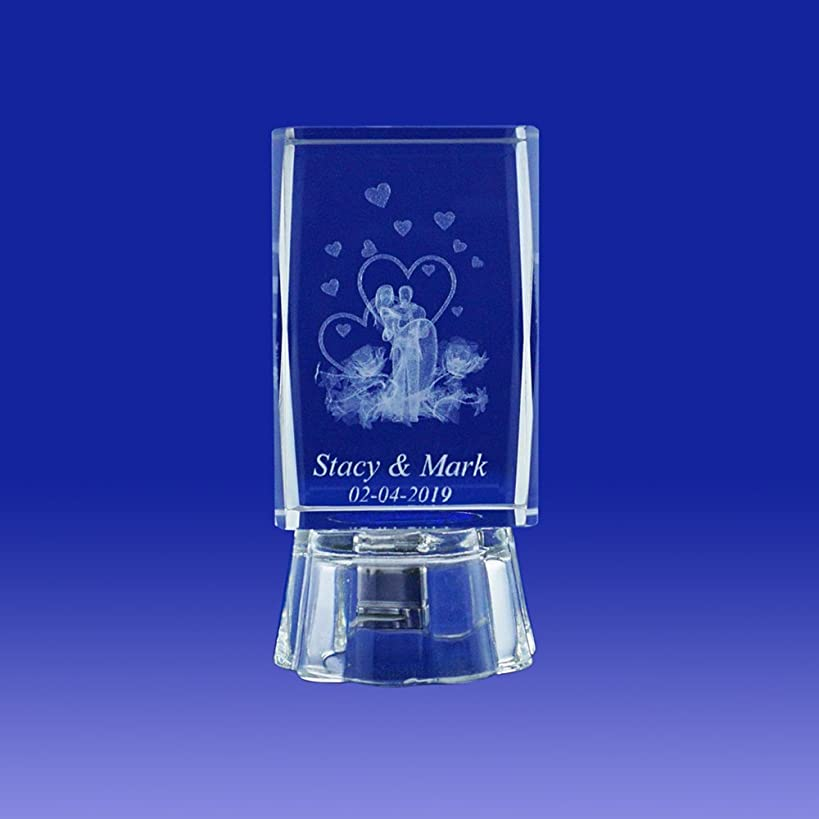 Nuestra Boda (12 PCS) Wedding Favors Personalized Custom Laser Etched Engraving 3D Bride & Groom Crystal Cube Glass (2.5