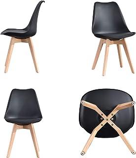 Comfortableplus Lot de 4 chaises de salle à manger en bois de hêtre massif avec pieds en bois de hêtre massif Design rétro...