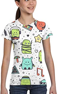 Girl T-Shirt Tee Youth Fashion Tops Geometrical Seamless Chaotic