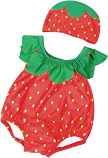 Baby One Piece Pineapple Swimsuit Hat Set Cute Fruits Bathing Suit Romper