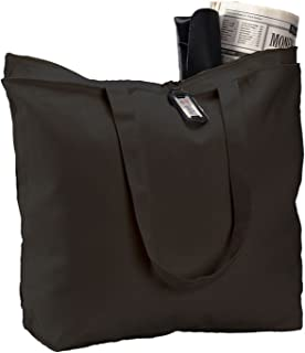 (3 Pack) Set of 3 Heavy Canvas Large Tote Bag with Zippered Closure Black AX-AY-ABHI-86156