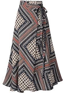 Holzkary Fashion High Split Ruffles Irregular Bohemian Print Strap Plus Size A-Line Skirt
