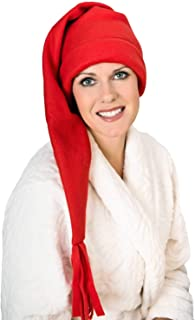 Elf Sleep Cap - Fleece Stocking Sleeping Night Hat for Women
