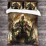 JNSS Juego de ropa de cama God of War, con el símbolo omega, Kratos Hero Blueshhouette para niños, Ghost of Sparta (Kratos3, 220 x 240 cm)