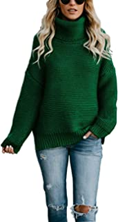HYCYG Women's Long Sleeve Chunky Knit Pullover Solid Casual Winter Jumper Turtleneck Sweater