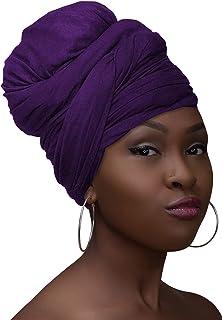 وشاح الرأس التفاف تمتد جيرسي حك الشعر التفاف العمامة الطويلة للنساء الأسود أغطية الرأس واسعة
