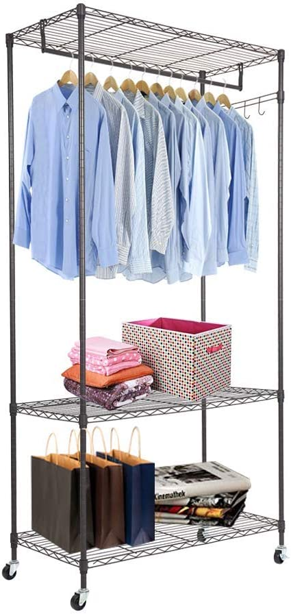 Dporticus Heavy Duty Wire Shelving Cloth Rack Garment Adjustable Fees Outstanding free