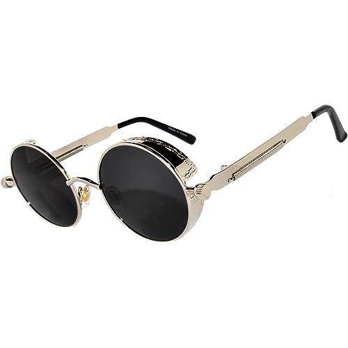 66ad7de0863 Steampunk Retro Gothic Vintage Hippie Colored Metal Round Circle Frame  Sunglasses Colored Lens OWL