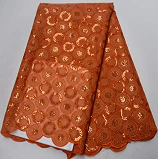 5yards/pc African Double Organza lace Fabric in deep Green with Gold Sequins Embroidery for Party Dress