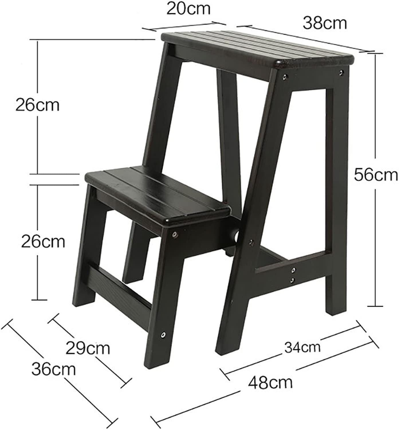 Step Stool Solid Wood Flower Stand Shelf Household Ladder Folding Ladder Wooden Ladder Ladder Multifunction Indoor Household Ascend The Small Ladder 1Pic