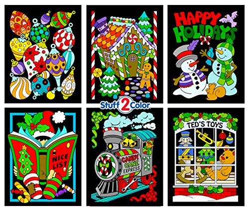 Stuff2Color Christmas Coloring Scenes - Fuzzy Poster 6 Pack (Arrives Uncolored)