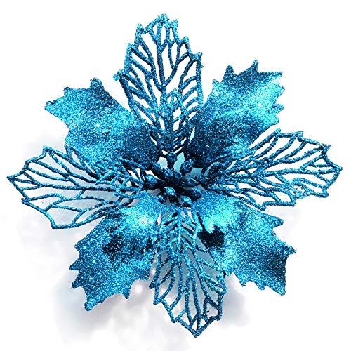 GL-Turelifes - Paquete de 12 flores de Pascua artificiales con purpurina para árbol de Navidad, corona de Navidad, adornos,...