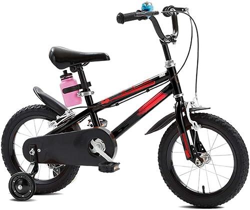 YUMEIGE Bicicletas Bici de 4 Colors con Rueda de Entrenamiento 12 14  16 18  con hervidor Disponible (Color   negro, Talla   12in)
