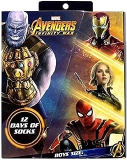 Boys Marvel Avengers Infinity War 12 Days Christmas 12pk Socks (Medium)