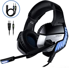 Cascos Gaming CHEREEKI Cascos para Juegos PS4, PC, Xbox One Auriculares Gaming Estéreo Ajustable Gaming con Micrófono y Control de Volumen, Bass Surround y Cancelación de Ruido (Bleu)