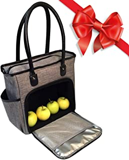 Lunch Tote Bag for Women Insulated Ladies Lunch Box Large with Black Handles Grey (Grey)