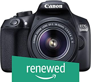 (Renewed) Canon EOS 1300D 18MP Digital SLR Camera (Black) with 18-55mm ISII Lens, 16GB Card and Carry Case