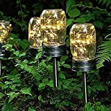 Solar Pathway Lights Outdoor,Mason jar Solar Lights,6 Pack 20led Waterproof Led Solar Lights for Lawn, Patio, Yard, Garden, Pathway, Walkway and Driveway(Jars not Include)