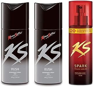 KamaSutra 2 Big (150ml Each) and 1 Power Series (135ml) Deodorant for Men's - Pack of 3 (Rush2-PowerSeries)