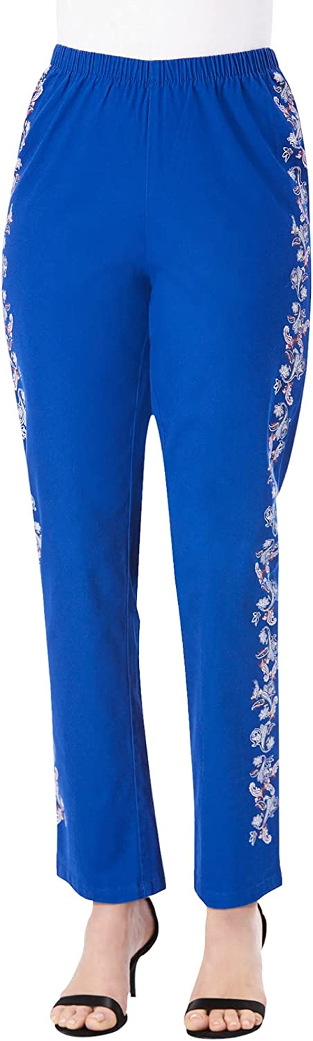 Roamans Women's Plus Size Embroidered Skinny-Leg Pull-On Stretch Jean