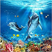 Xbwy 装飾壁画壁紙水中世界イルカ床タイルステッカー浴室寝室Pvc自己接着-400X280Cm