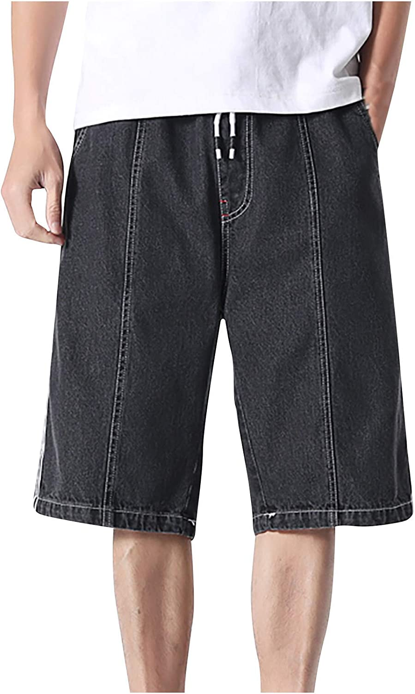 Men's Casual Jean Shorts Plus Size Straight Fit Leg Pants Fashion Classic Drawstring Denim Shorts with Pockets