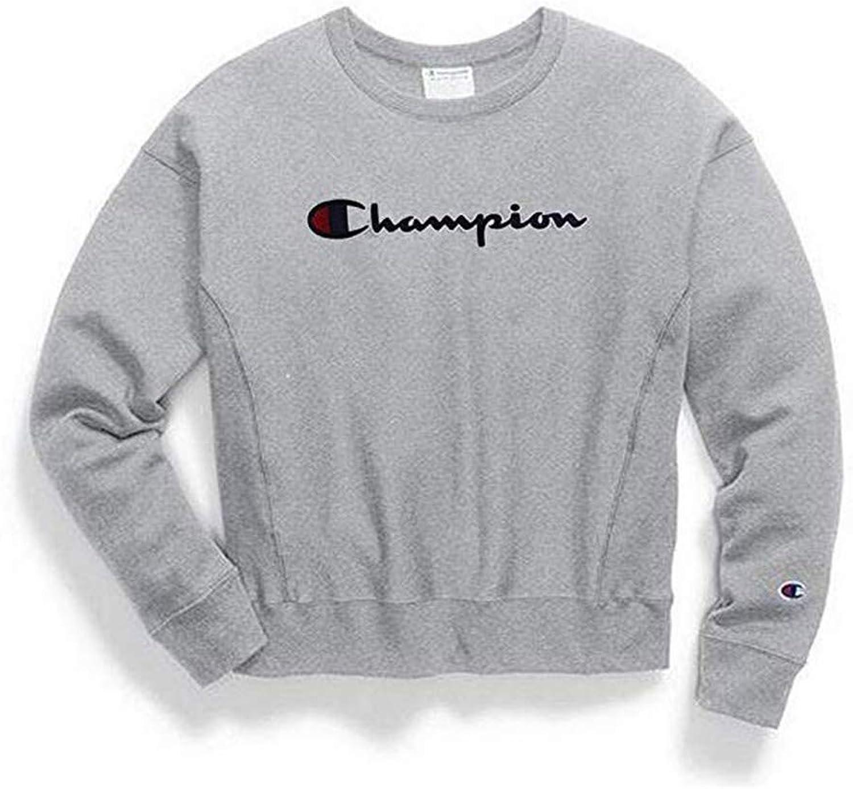Champion Women's Reverse Weave Crew, Chainstitch Script