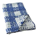 Breganwood Organics Decorative Throw Blanket, Soft Woven Breathable Muslin Cotton, 50' x 72' Perfect for Reading, Watching TV, Napping, Picnics, at The Beach (Man Cave in Blue & Grey)
