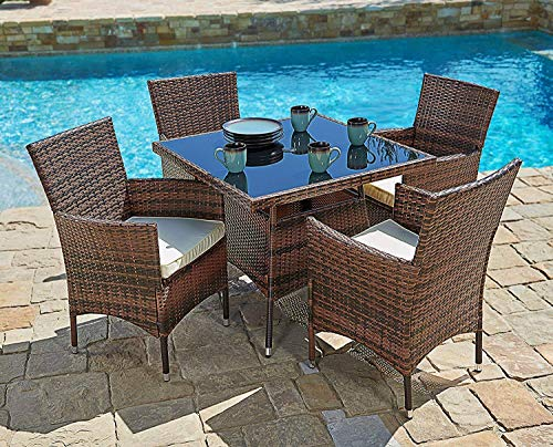SUNCROWN Outdoor Dining Set Brown Wicker Furniture 5-Piece Square Dining Table and Chairs w/Washable Cushions | Patio, Backyard, Porch, Garden, Poolside | Tempered Glass Tabletop | Modern Design