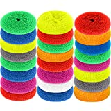 Scouring Pads Round Dish Pads Plastic Non-Scratch Dish Scrubbers Assorted Color Dish Mesh Scrubbers for Kitchen (30)