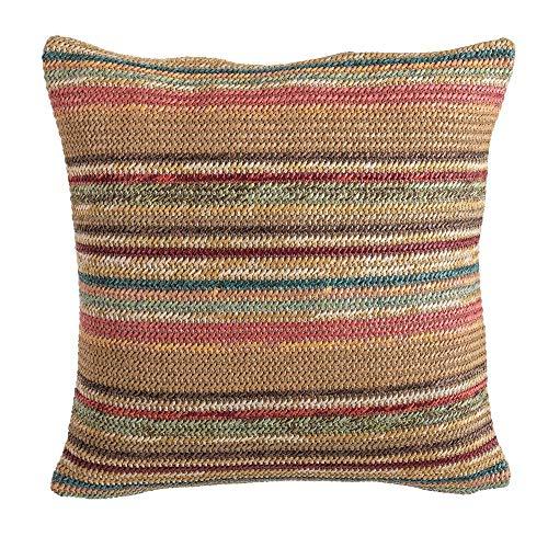 LOLAhome Decorative Stripe Cushion for Outdoor Multi-Coloured Polypropylene, 43 x 43 cm