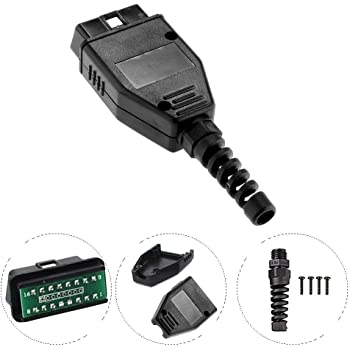 AUTOS-FAMILY Universal Car OBD2 16Pin Connector, 16 Pin Adapter Male Connector, Standard 16Pin Male Plug, OBD Shell, with Plug + Shell + SR + Screw + PCB Board