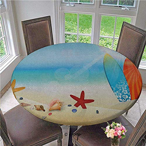 Fitted tablecloths Holiday Theme Sunglasses Beach Summer Surfboard Daytime Sunny Starfish Seashells Elastic Fitted Table Cover for Folding Banquet Table Multicolor Diameter - 47 Inch