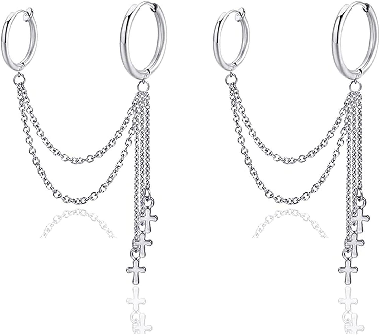 Fusamk Hip Hop Stainless Steel Tube Circle Clip On Earrings Tassel Chain Cross Hoop Earrings,2PCS