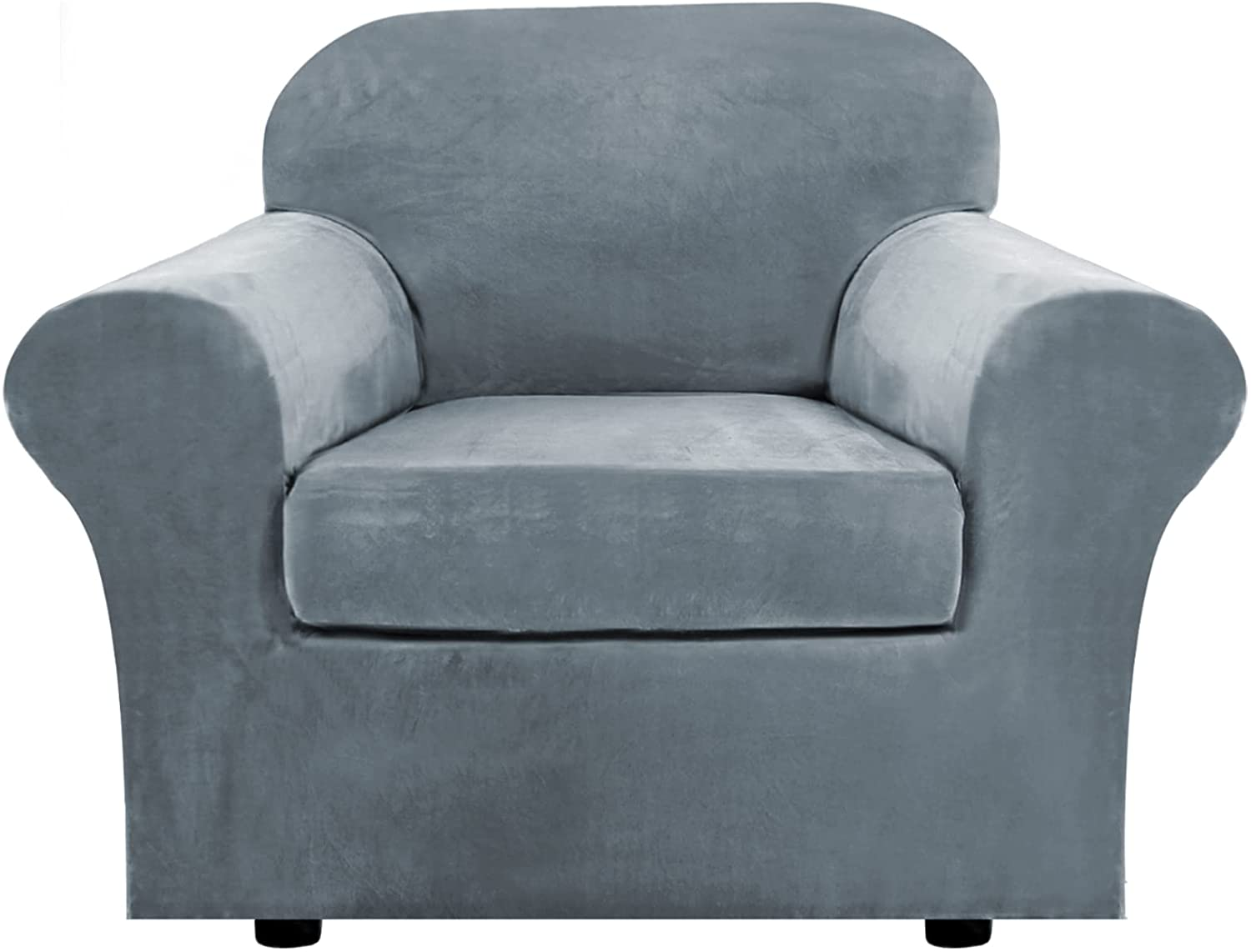 Rich Velvet Stretch 2 Piece Chair Cover Chair Slipcover Sofa Cover Furniture Protector Couch Soft with Elastic Bottom Chair Couch Cover with Arms, Machine Washable(Chair, Stone Blue)
