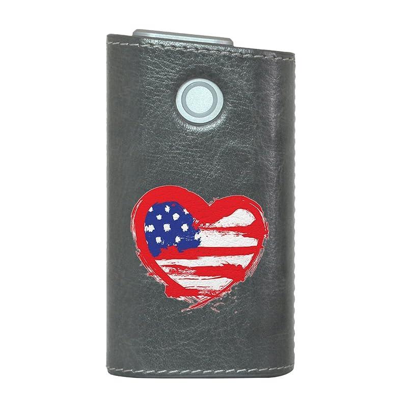インスタントブレイズ証明書glo グロー グロウ 専用 レザーケース レザーカバー タバコ ケース カバー 合皮 ハードケース カバー 収納 デザイン 革 皮 GRAY グレー ラブリー アメリ 国旗 ハート 001567