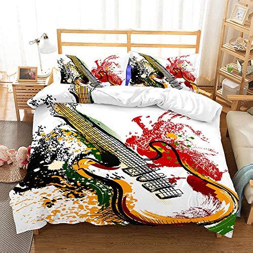 AHJJK Duvet cover set 79 x 79 inchWhite guitar 3D Printed Microfiber Bedding Duvet Cover with 2x Pillowcases & Zipper Closure Quilt Case for Boy Girl Single Double King Bed