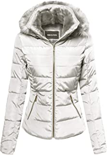 Made by Emma Women's Fitted Quilted Puffer Jacket with Detachable Faux Fur Hood