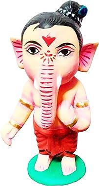 Quchuu Baked Clay Bal Ganesh Miniature God Idol for Desk Decor/ Clay Make Miniature Ganesha/ Krishnanagar Matir Putul for Gif