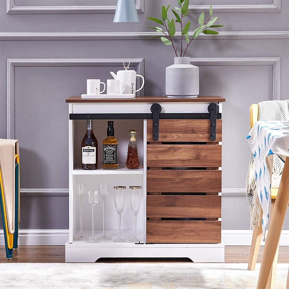 Barn Opening large Inexpensive release sale Door Storage Cabinet Farmhouse Buffet Sideboard Woo Kitchen